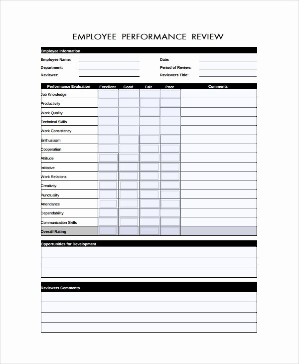 Free Employee Review Templates Fresh Sample Performance Review form Template 7 Free