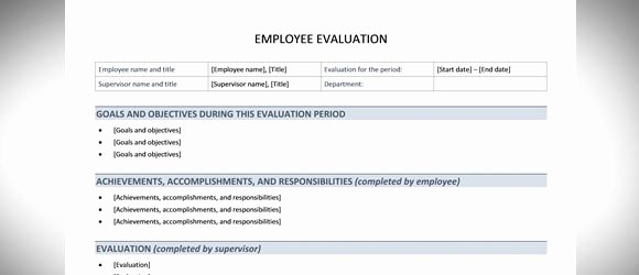 Free Employee Review Templates Luxury Free Employee Evaluation Template for Word