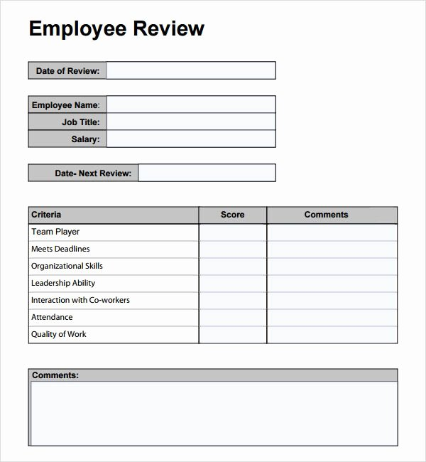 Free Employee Review Templates Unique Free Employee Performance Review Template