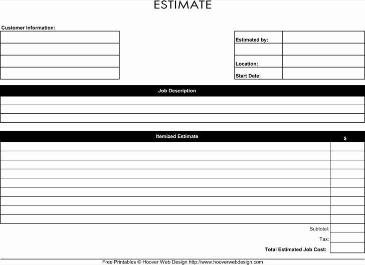Free Estimate Template Pdf New Blank Estimate Template