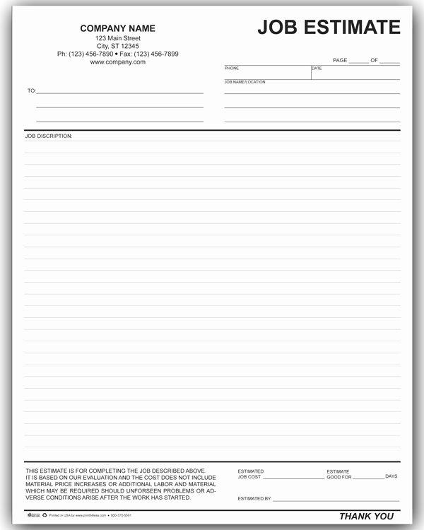 Free Estimate Template Pdf Unique 10 Job Estimate Templates Excel Pdf formats