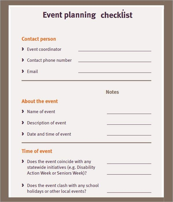 Free event Plan Template Unique Free event Planning Checklist Ministry