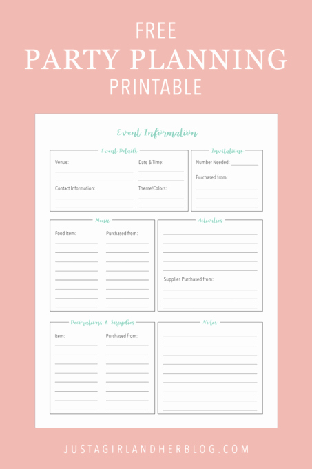 Free event Planner Templates Elegant Party Planning organized Free Printables Included