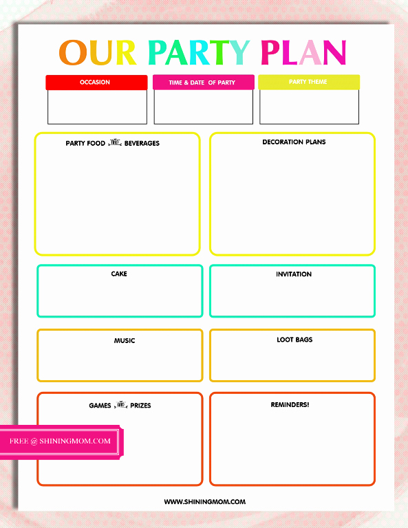 Free event Planner Templates Luxury Free Printable Party Planning Template