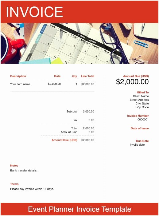Free event Planner Templates Unique event Planner Invoice Template Free Download