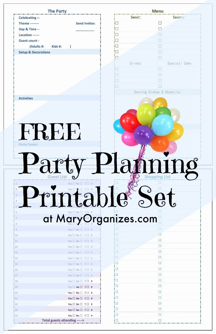 Free event Planner Templates Unique Party Planning [printable] Set Creatingmaryshome