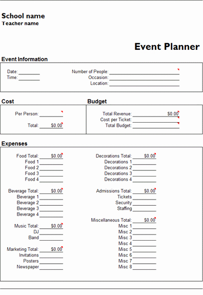 Free event Planning Templates Fresh Ms Excel event Planner Template