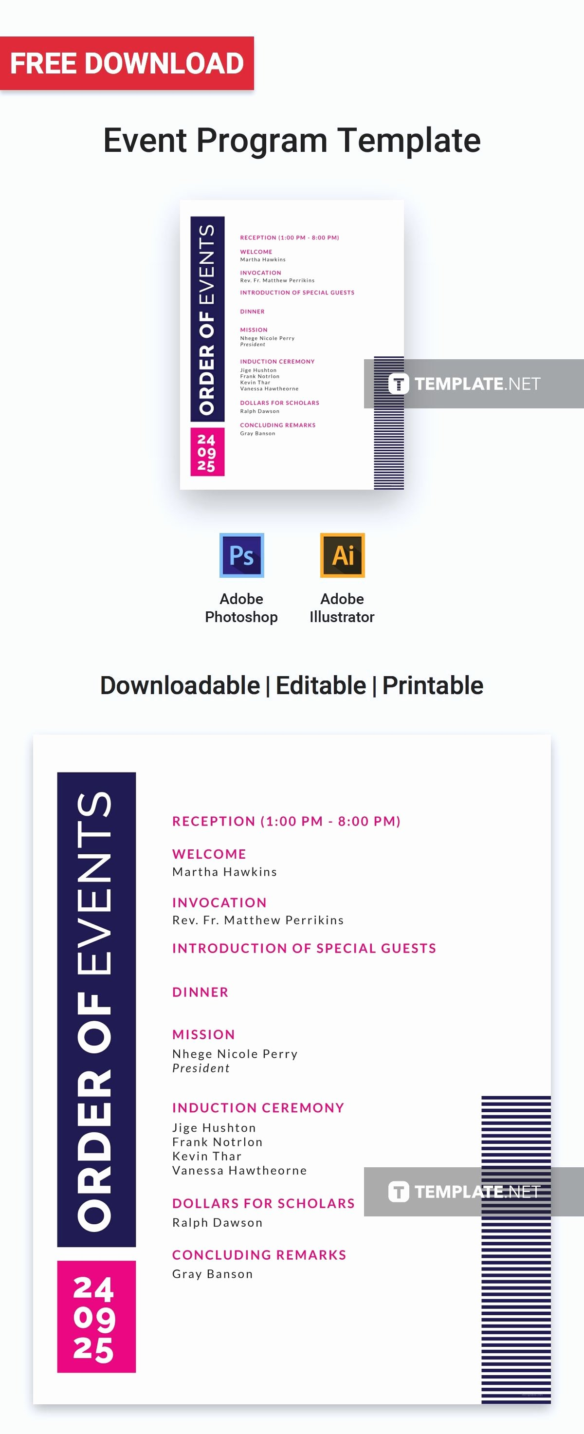 Free event Program Templates Awesome Free event Program Invitation