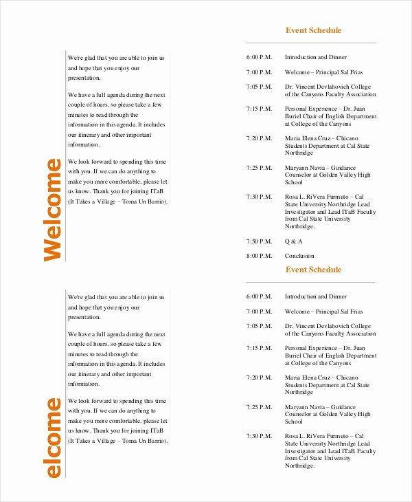 Free event Program Templates Unique event Program Template