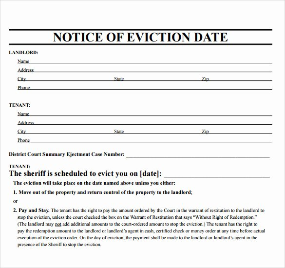 Free Eviction Notice Templates Fresh Eviction Template Free Download Printable Templates Lab
