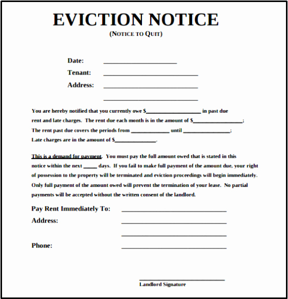 Free Eviction Notice Templates Inspirational Blank Free Eviction Notice Template Pdf Word