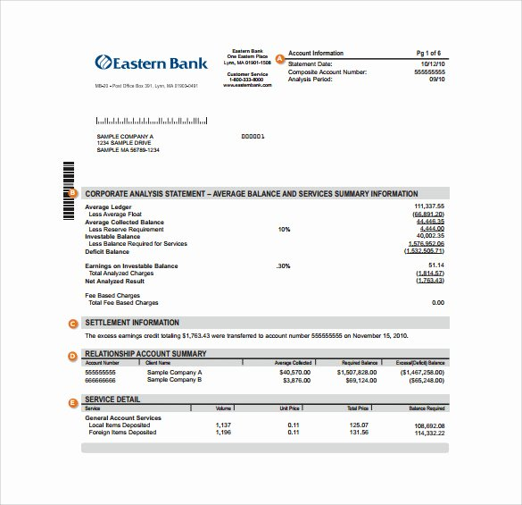 Free Fake Bank Statements Templates New Free 18 Sample Bank Statements In Pdf Word
