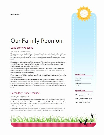 Free Family Newsletter Template Beautiful 63 Best Images About Family Reunion On Pinterest