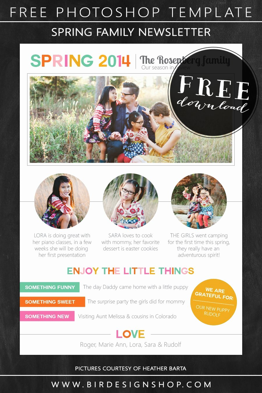 Free Family Newsletter Template Elegant Spring Family Newsletter Free Photoshop Template – Birdesign