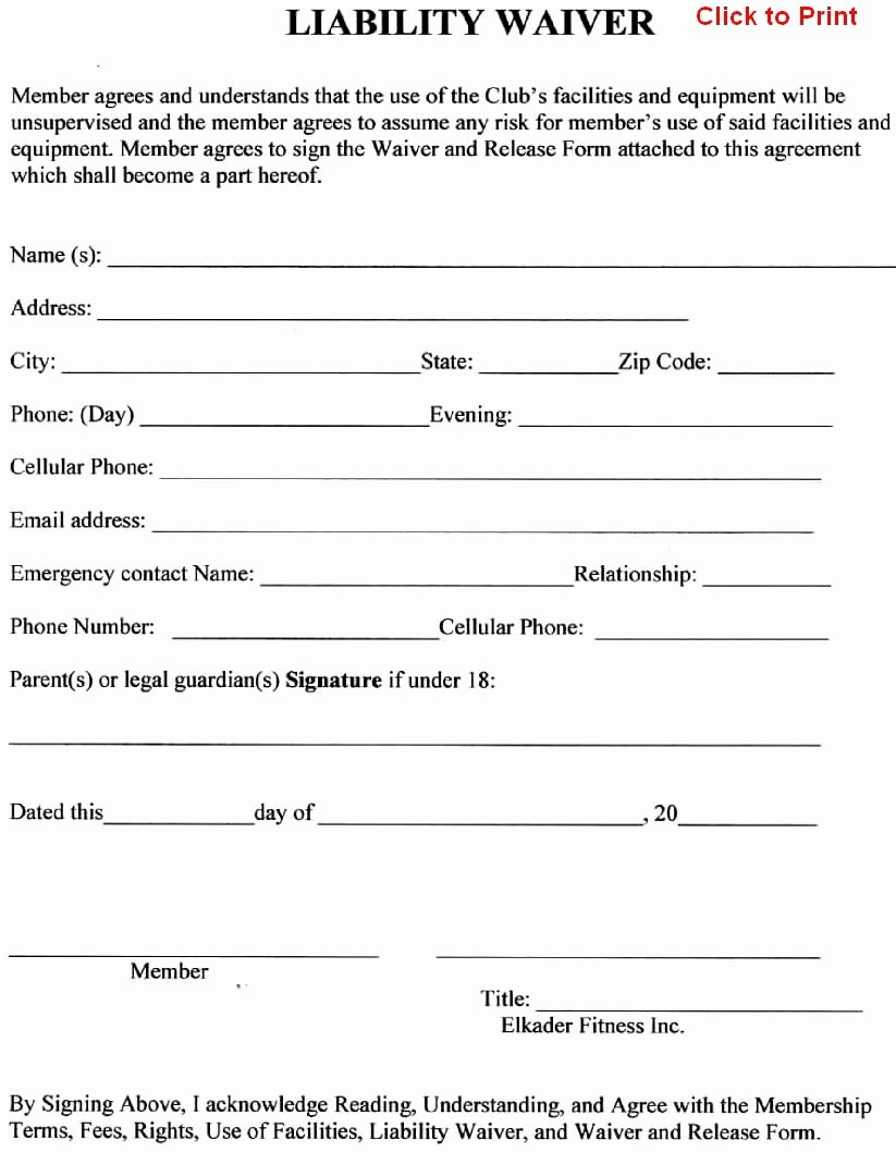 Free General Release form Template Awesome Member Agreement Liability Waiver Template