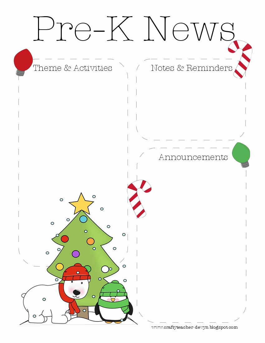 Free Holiday Newsletter Templates Beautiful Christmas Pre K Newsletter Template