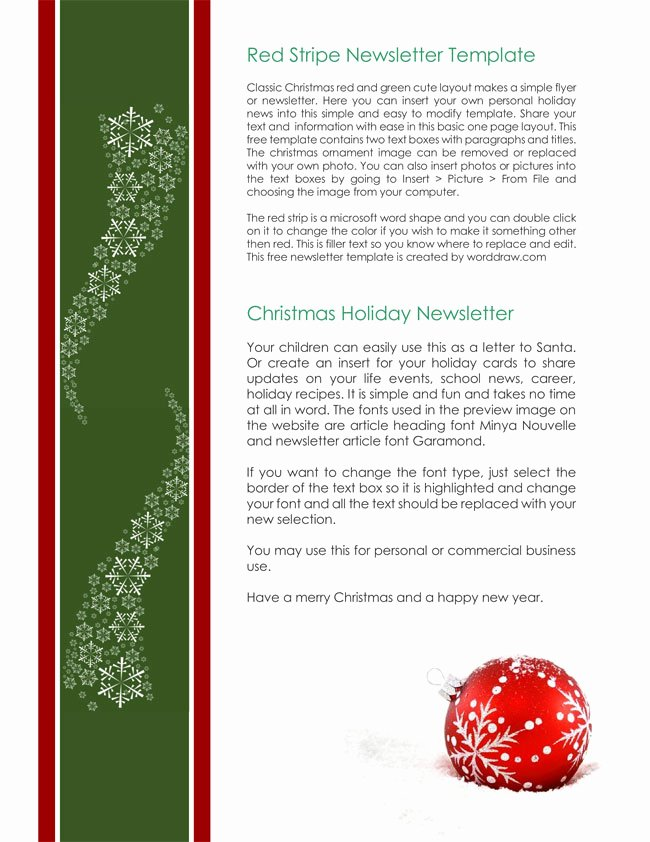 Free Holiday Newsletter Templates Luxury 9 Christmas Newsletter Templates to Create Printable and