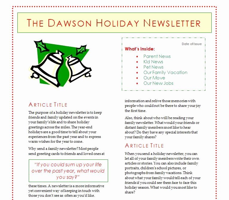 Free Holiday Newsletter Templates Luxury Holiday Newsletter Template