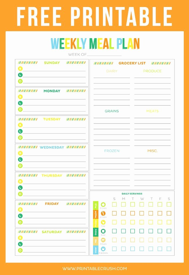 Free Meal Plan Templates Awesome Free Printable Weekly Meal Planner Printable Crush
