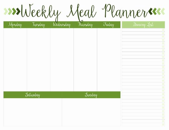 Free Meal Plan Templates Awesome Printable Weekly Meal Planners Free