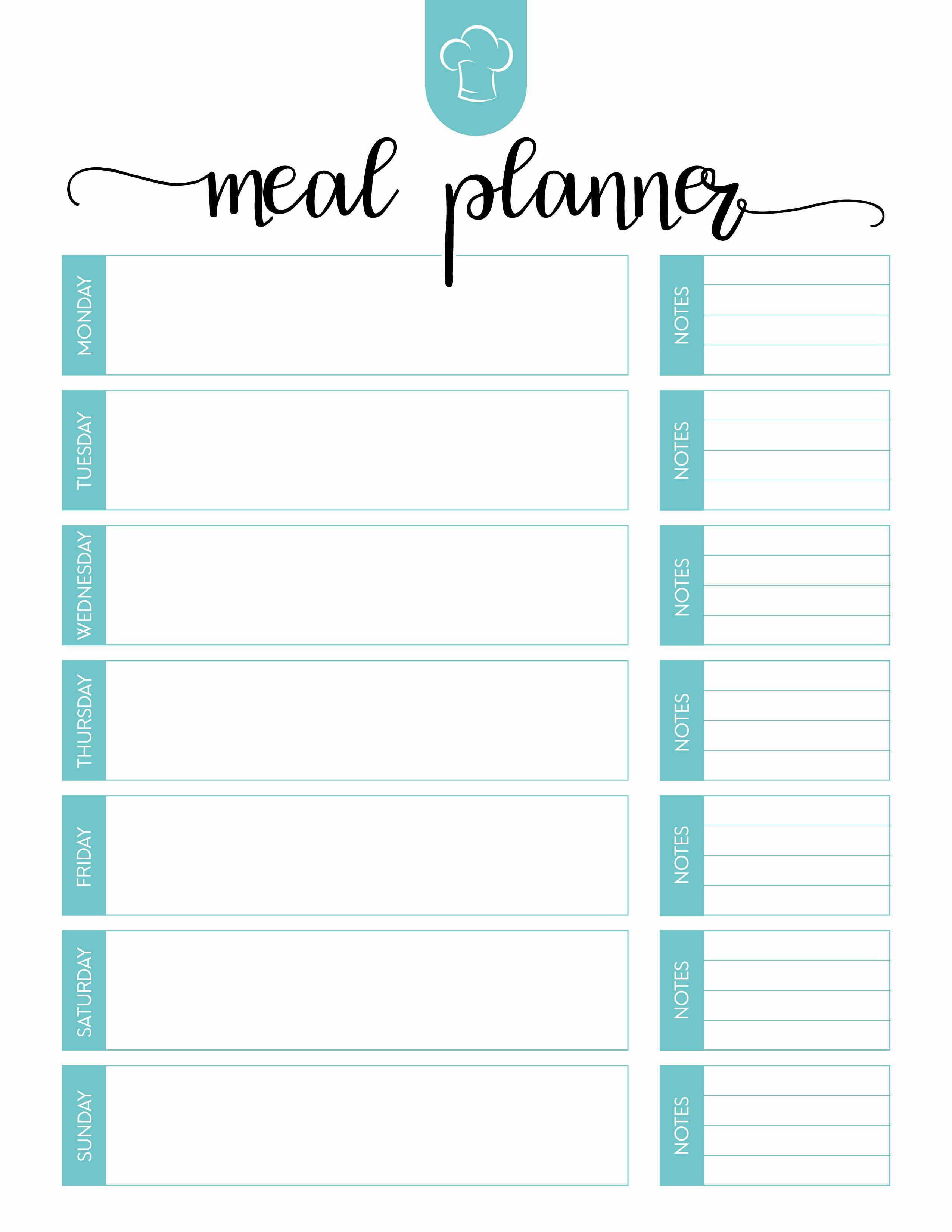 Free Meal Plan Templates Beautiful Free Printable Meal Planner Set the Cottage Market