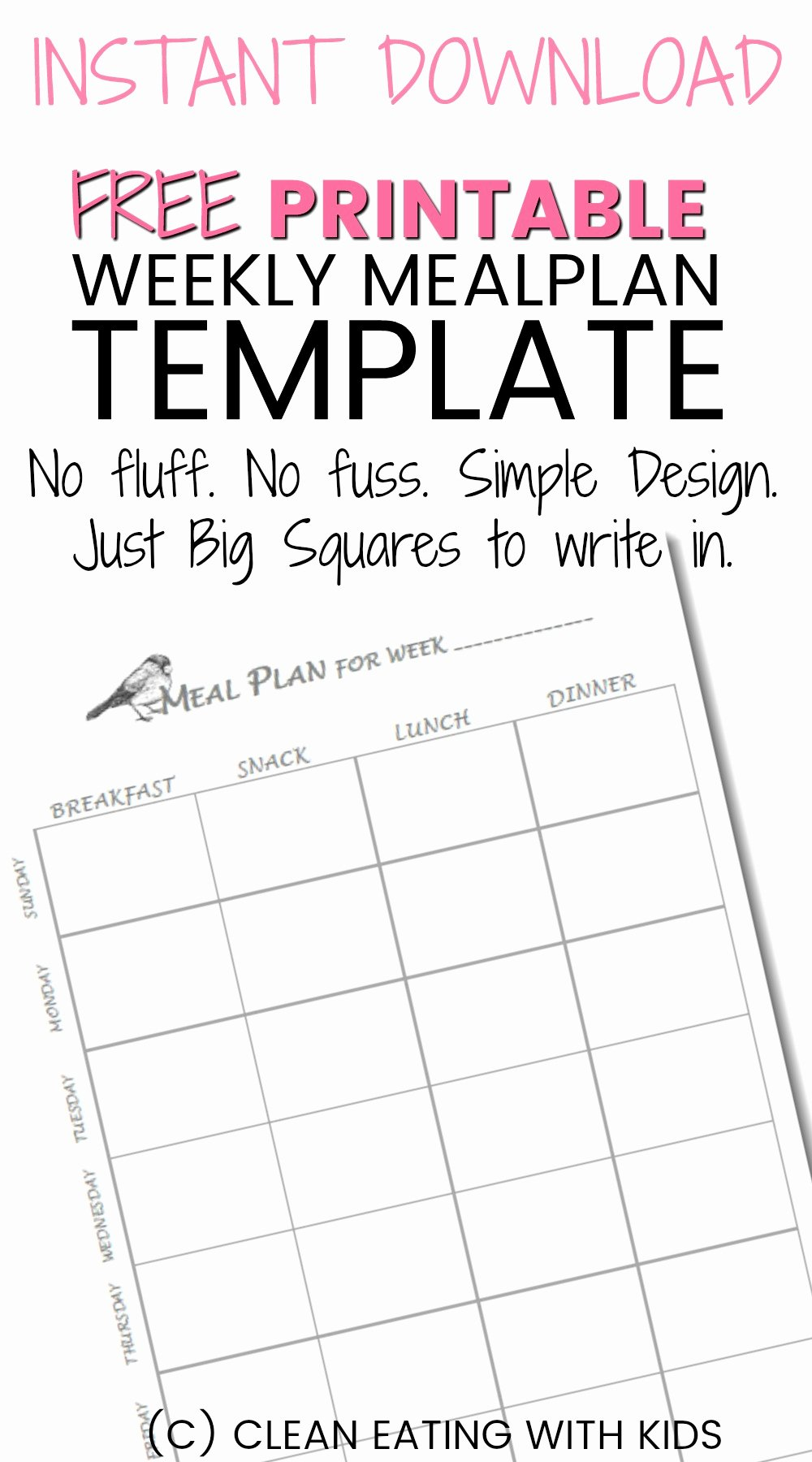 Free Meal Plan Templates Best Of Free Printable Weekly Meal Plan Template Clean Eating