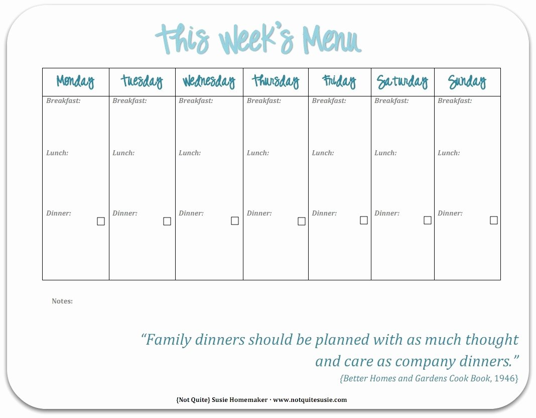 Free Meal Plan Templates Elegant Free Printable Weekly Meal Planner Not Quite Susie