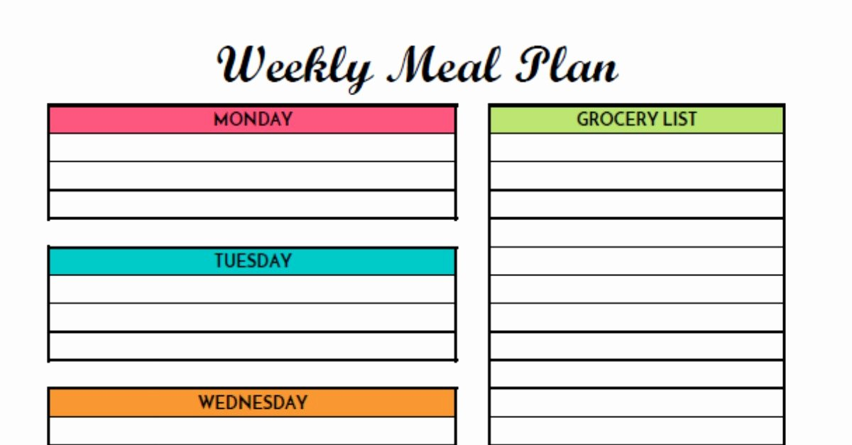 Free Meal Plan Templates Elegant Free Weekly Meal Planning Printable with Grocery List