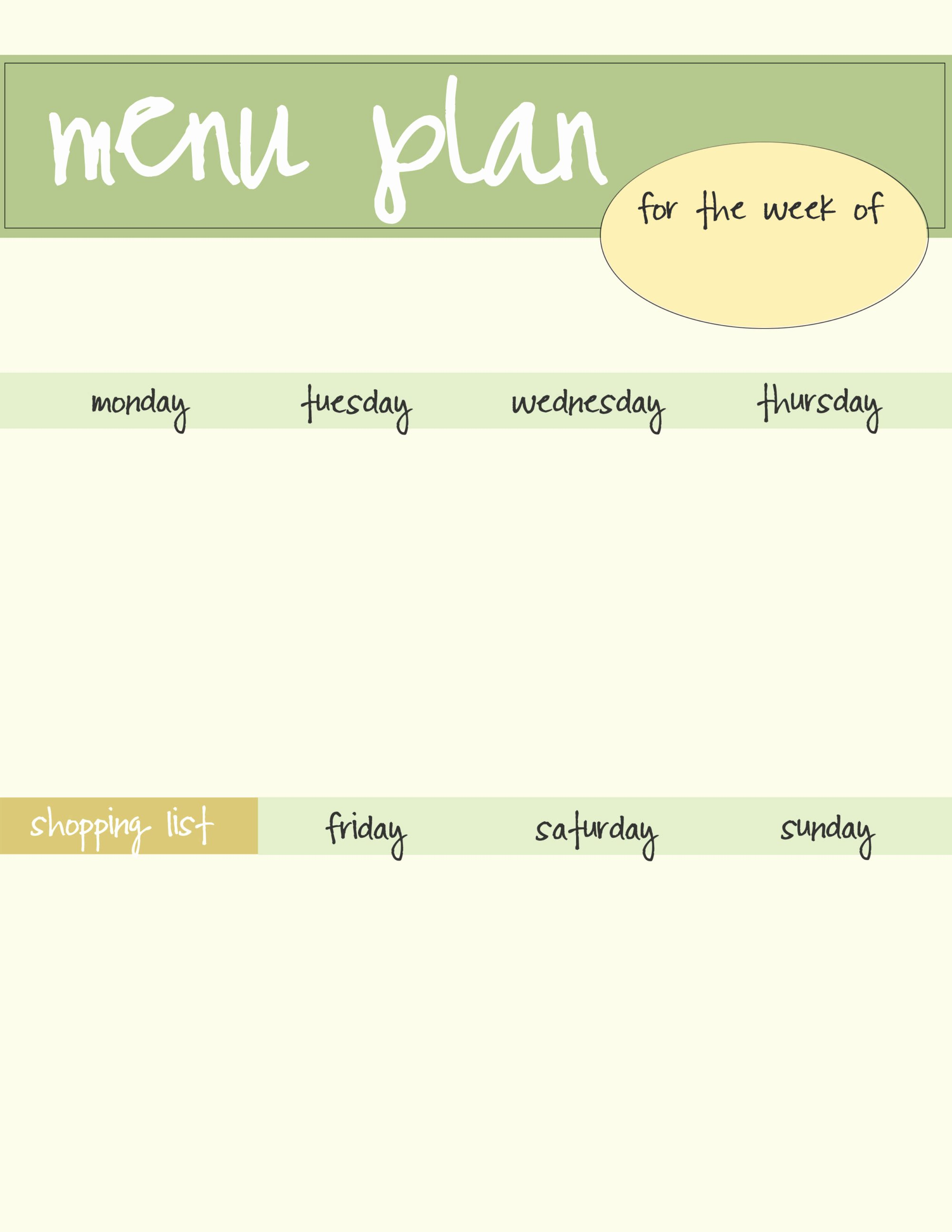 Free Meal Plan Templates Fresh Meal Planning Template Free Download