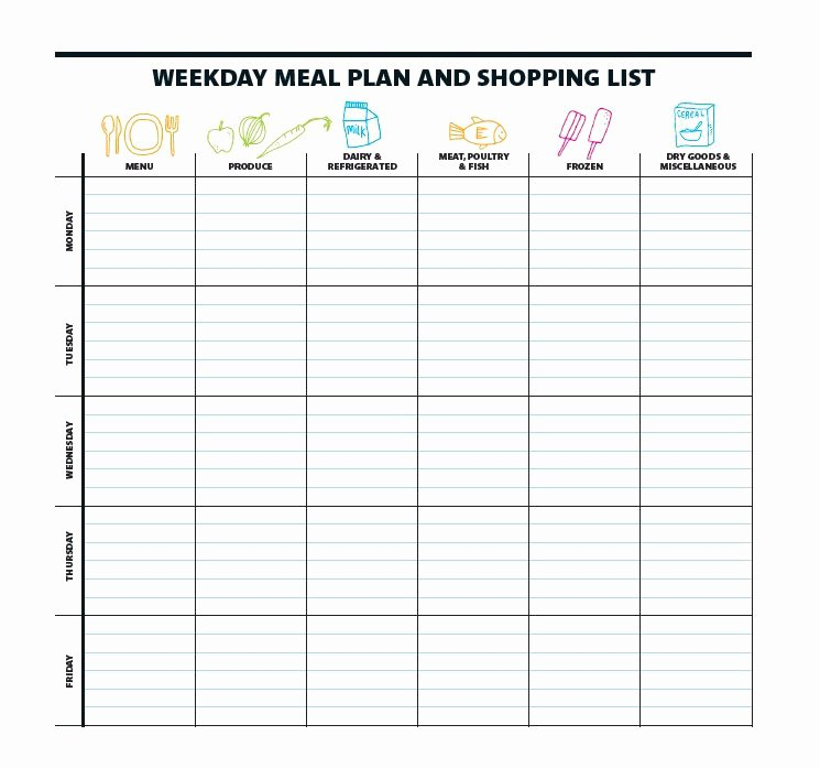 Free Meal Plan Templates Lovely 40 Weekly Meal Planning Templates Template Lab