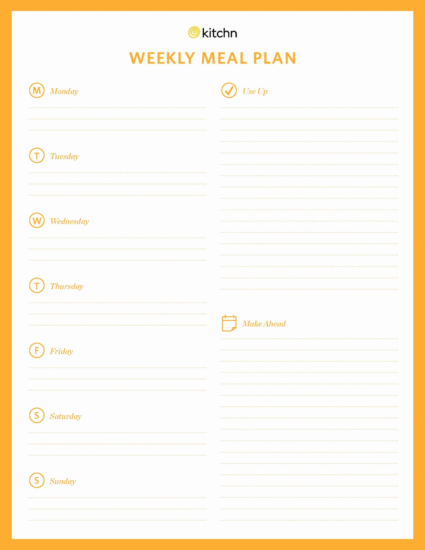 Free Meal Plan Templates New Kitchn S Meal Plan Template