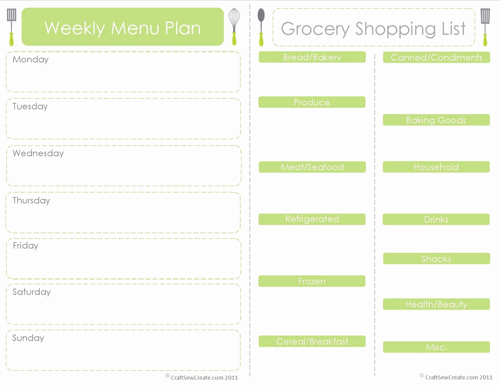 Free Meal Plan Templates Unique Craft Sew Create Free Printable Menu Plan Shopping List