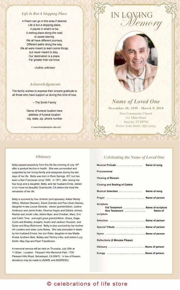 Free Memorial Card Template Awesome Alexandria Printable Funeral Program Template