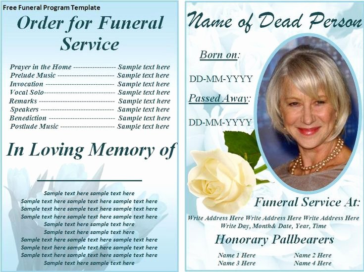Free Memorial Card Template Awesome Free Funeral Program Templates