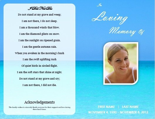 Free Memorial Card Template Awesome Single Fold Beach Funeral Program Template for