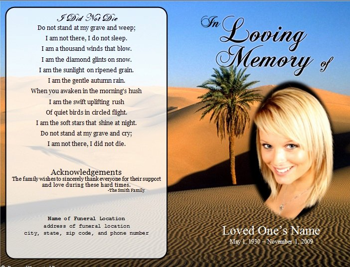 Free Memorial Card Template Beautiful Desert Single Fold Memorial Program Funeral Pamphlets
