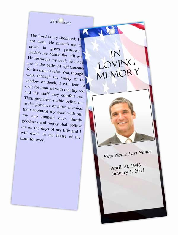 Free Memorial Card Template Beautiful Patriotic Us Bookmark Template Elegant Memorials