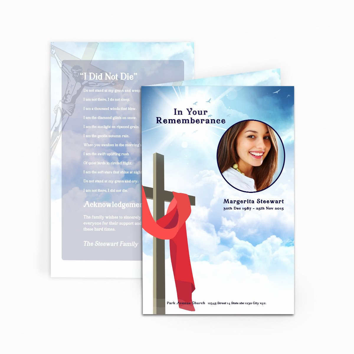 Free Memorial Card Template Fresh Cross In Clouds Funeral Card Funeral Pamphlets