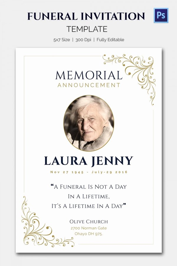 Free Memorial Card Template Inspirational 15 Funeral Invitation Templates – Free Sample Example