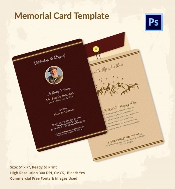 Free Memorial Card Template Lovely 21 Obituary Card Templates – Free Printable Word Excel