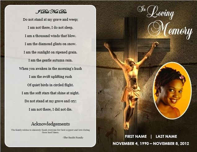 Free Memorial Card Template New Free Funeral Program Templates