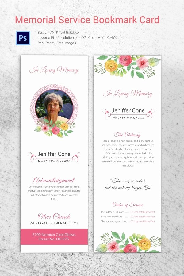 Free Memorial Card Template Unique 31 Funeral Program Templates – Free Word Pdf Psd