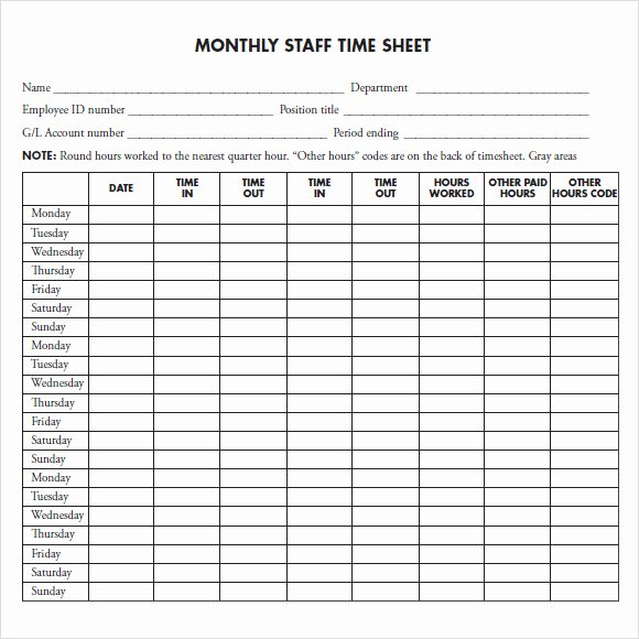 Free Monthly Timesheet Template Best Of Free 14 Sample Monthly Timesheet In Google Docs