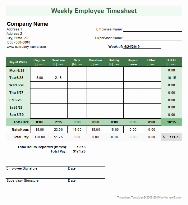 Free Monthly Timesheet Template Elegant Timesheet Template Free Simple Time Sheet for Excel