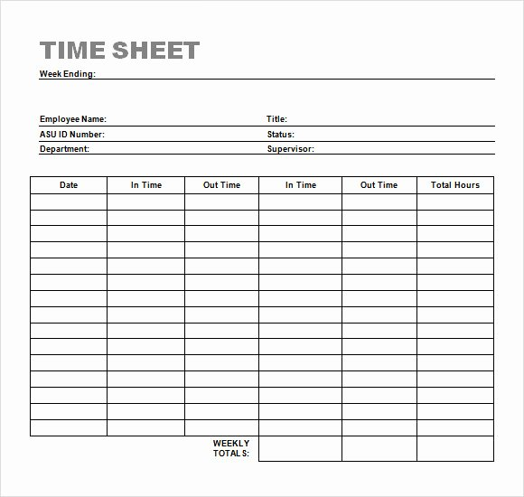Free Monthly Timesheet Template Lovely Sample Time Sheet 23 Example format