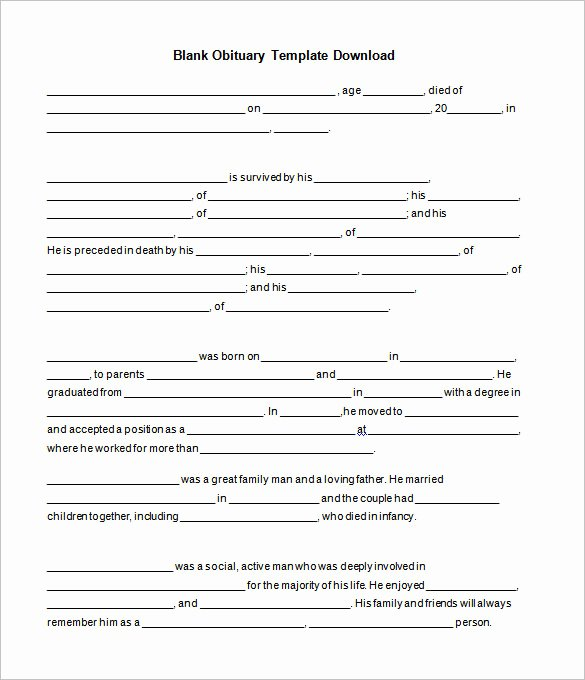 Free Obituary Templates for Word Best Of Free Obituary Template