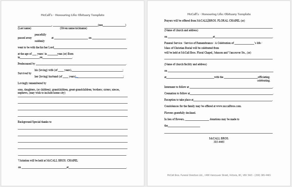 Free Obituary Templates for Word Lovely 21 Free Obituary Templates Samples and Guides