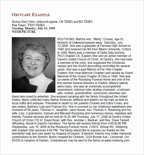 Free Obituary Templates for Word Lovely Obituary Templates & Sample Exampls Free