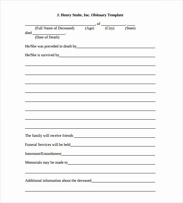 Free Obituary Templates for Word Luxury Free 15 Printable Obituary Templates In Pdf Word