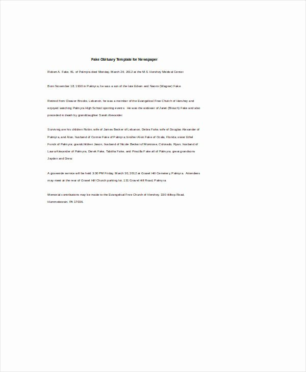 Free Obituary Templates for Word New 4 Obituary Templates Free Word Excel Pdf